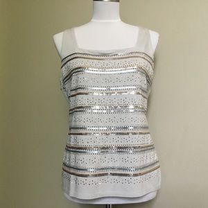 NWOT$78 WHBM Gray sequin stud stretch tank top M